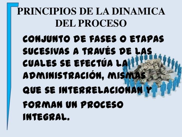 PRINCIPIOS DE LA DINAMICA DEL PROCESO<br />Conjunto de fases o etapas sucesivas a través de las cuales se efectúa la admi...