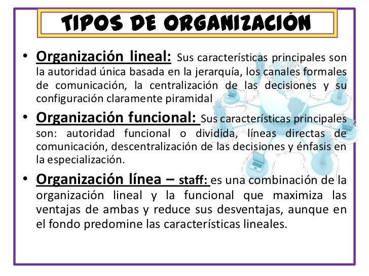 TIPOS DE ORGANIZACIÓN<br />Organización lineal:Sus características principales son la autoridad única basada en la jerarqu...