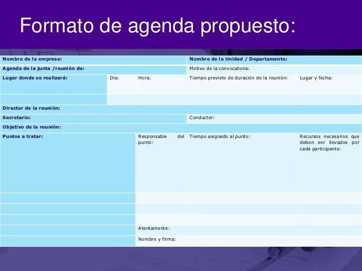 formato de agenda propuesto