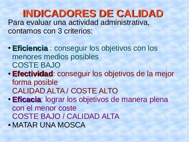 IINNDDIICCAADDOORREESS DDEE CCAALLIIDDAADD  Para evaluar una actividad administrativa,  contamos con 3 criterios:  ● EEffi...
