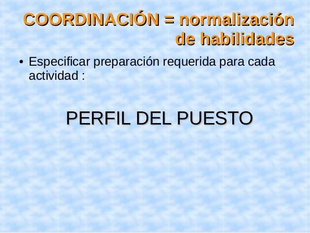CCOOOORRDDIINNAACCIIÓÓNN == nnoorrmmaalliizzaacciióónn  ddee hhaabbiilliiddaaddeess  ● Especificar preparación requerida p...