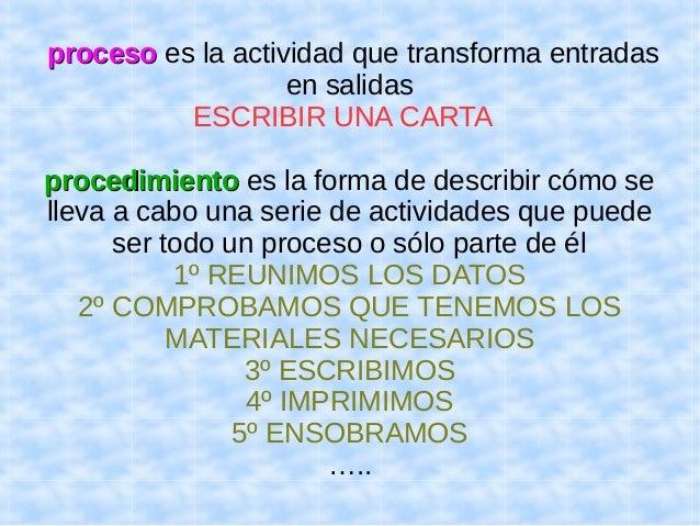 pprroocceessoo es la actividad que transforma entradas  en salidas  ESCRIBIR UNA CARTA  pprroocceeddiimmiieennttoo es la f...