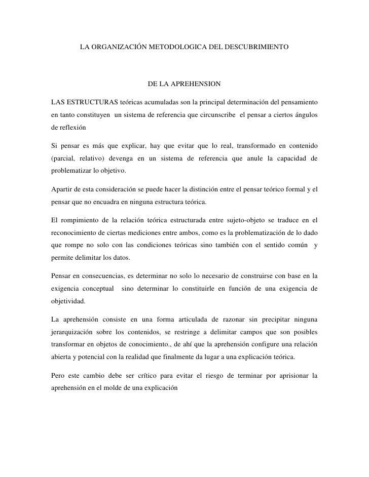 LA ORGANIZACIÓN METODOLOGICA DEL DESCUBRIMIENTO                                  DE LA APREHENSIONLAS ESTRUCTURAS teóricas...