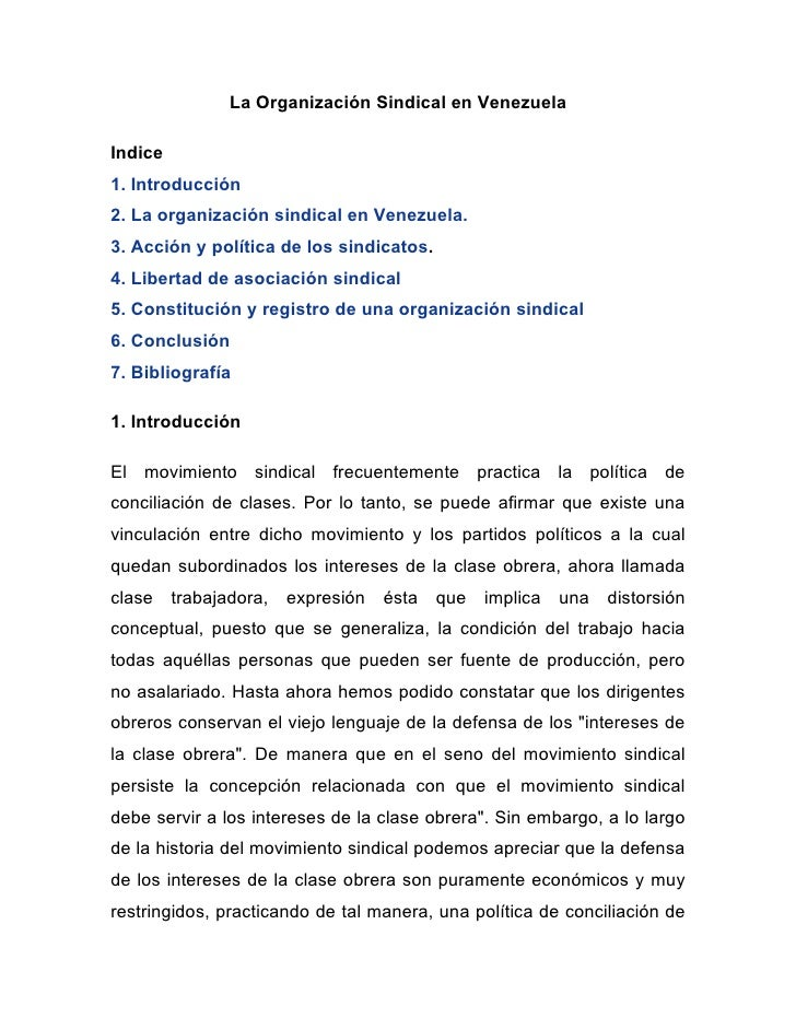 La Organización Sindical en VenezuelaIndice1. Introducción2. La organización sindical en Venezuela.3. Acción y política de...