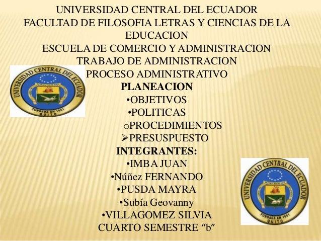 UNIVERSIDAD CENTRAL DEL ECUADORFACULTAD DE FILOSOFIA LETRAS Y CIENCIAS DE LAEDUCACIONESCUELA DE COMERCIO Y ADMINISTRACIONT...