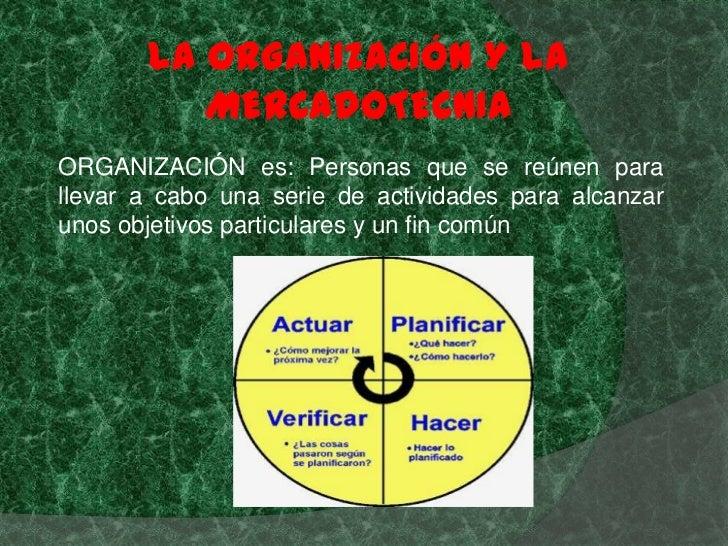 LA ORGANIZACIÓN Y LA          MERCADOTECNIAORGANIZACIÓN es: Personas que se reúnen parallevar a cabo una serie de activida...