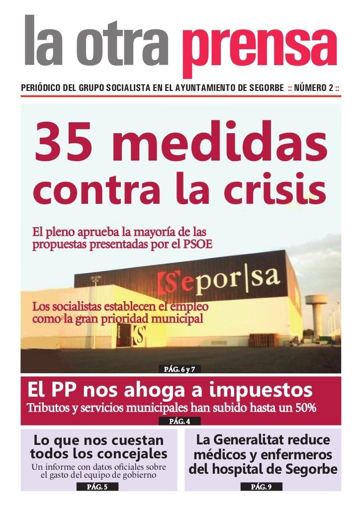 prensaPERIÓDICO DEL GRUPO SOCIALISTA EN EL AYUNTAMIENTO DE SEGORBE :: NÚMERO 2 ::  35 medidas  contra la crisis  El pleno ...