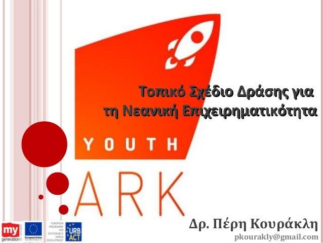 Δρ. Πέρη Κουράκλη pkourakly@gmail.com Τοπικό Σχέδιο Δράσης γιαΤοπικό Σχέδιο Δράσης για τη Νεανική Επιχειρηματικότητατη Νεα...