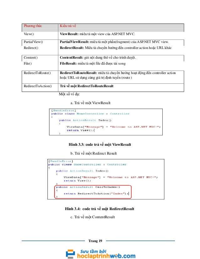 Phương thức  Kiểu trả về  View()  ViewResult: miêu tả một view của ASP.NET MVC.  PartialView()  PartialViewResult: miêu tả...