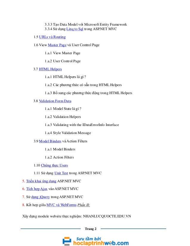Lập trình web asp.net MVC Slide 2