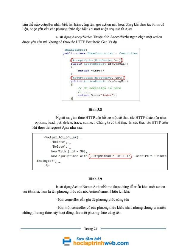 làm thế nào cotroller nhận biết hai hàm cùng tên, gọi action nào hoạt động khi thao tác form dữ liệu, hoặc yêu cầu các phư...