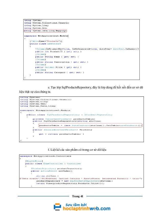 e. Tạo lớp SqlProductsRepository, đây là lớp dùng để kết nối đến cơ sở dữ liệu thật sự của chúng ta.  f. Liệt kê các sản p...