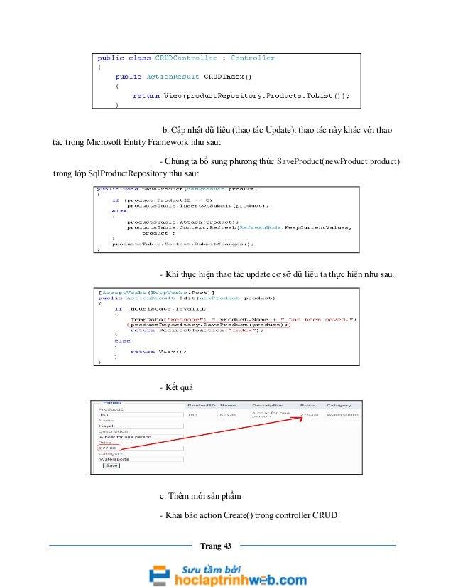 b. Cập nhật dữ liệu (thao tác Update): thao tác này khác với thao tác trong Microsoft Entity Framework như sau: - Chúng ta...