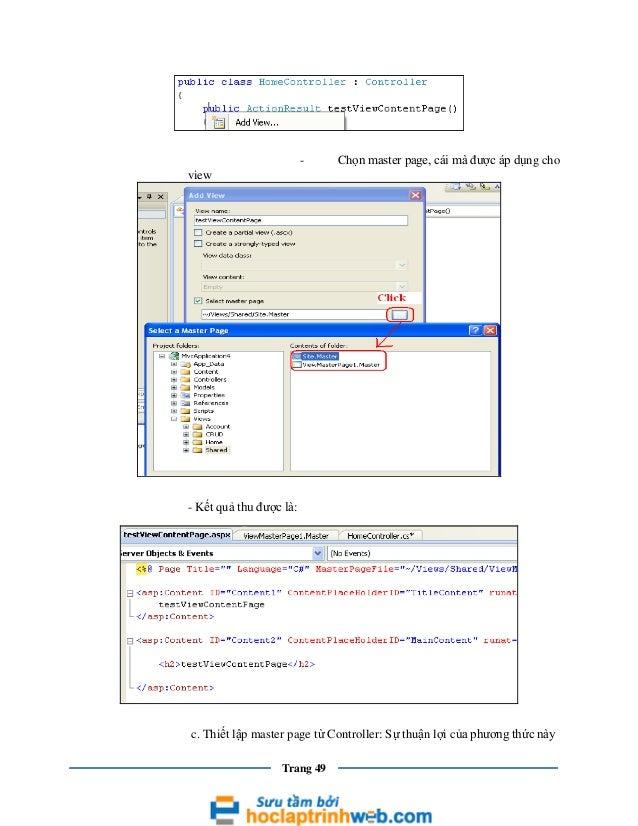 -  Chọn master page, cái mà được áp dụng cho  view  - Kết quả thu được là:  c. Thiết lập master page từ Controller: Sự thu...