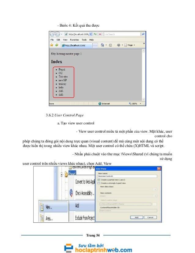 - Bước 4: Kết quả thu được  3.6.2 User Control Page a. Tạo view user control - View user control miêu tả một phần của view...