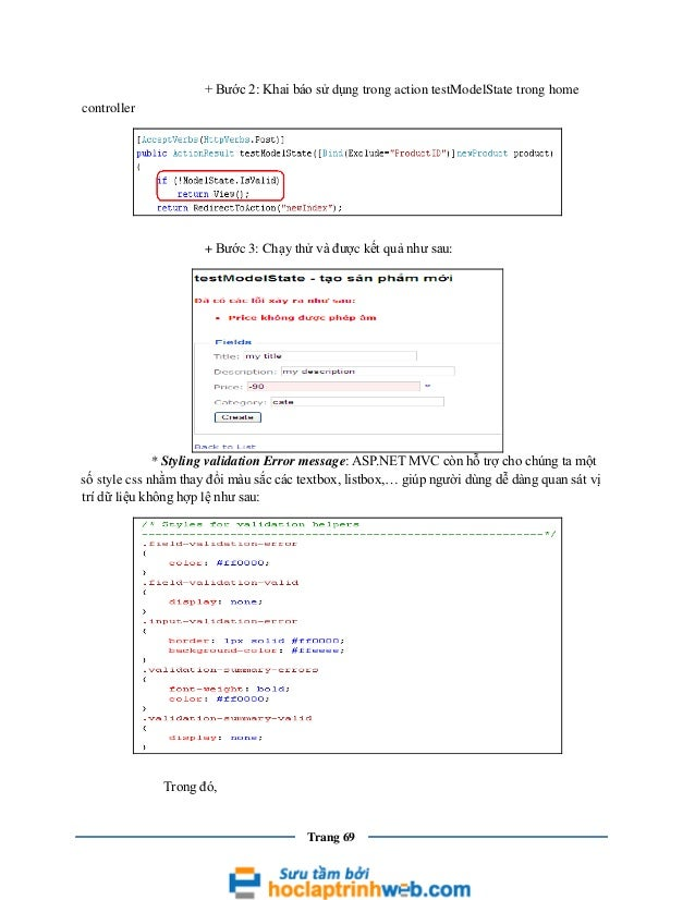 + Bước 2: Khai báo sử dụng trong action testModelState trong home controller  + Bước 3: Chạy thử và được kết quả như sau: ...