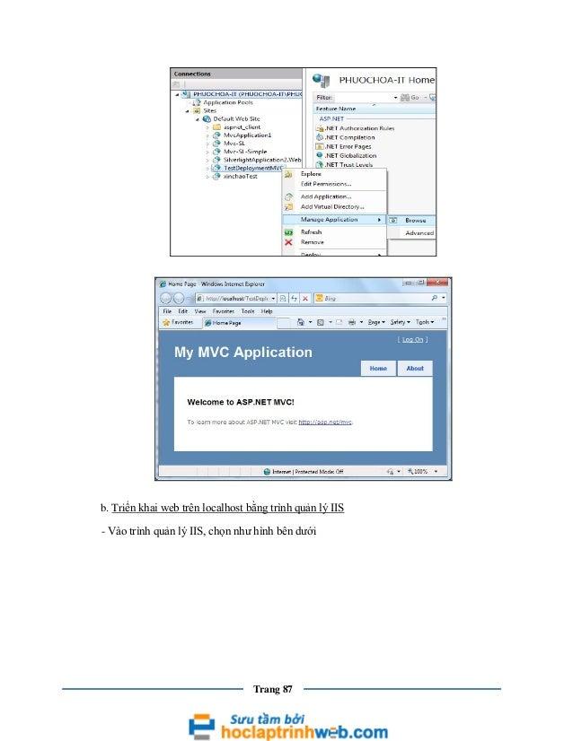 b. Triển khai web trên localhost bằng trình quản lý IIS - Vào trình quản lý IIS, chọn như hình bên dưới  Trang 87