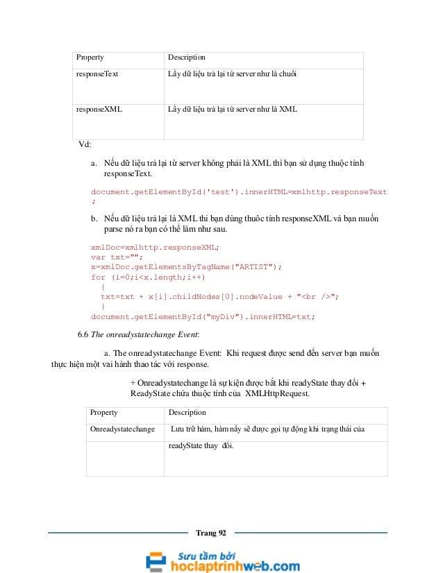 Property  Description  responseText  Lấy dữ liệu trả lại từ server như là chuổi  responseXML  Lấy dữ liệu trả lại từ serve...