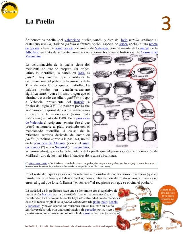La paella breve estudio t cnico te rico culinario de una for Cocina tradicional espanola