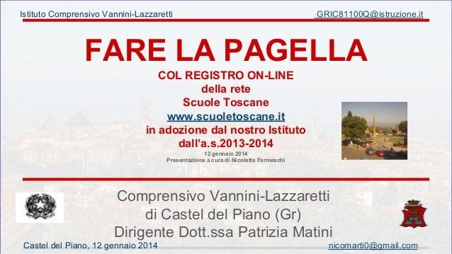 Istituto Comprensivo Vannini-Lazzaretti  GRIC81100Q@istruzione.it  FARE LA PAGELLA COL REGISTRO ON-LINE della rete Scuole ...