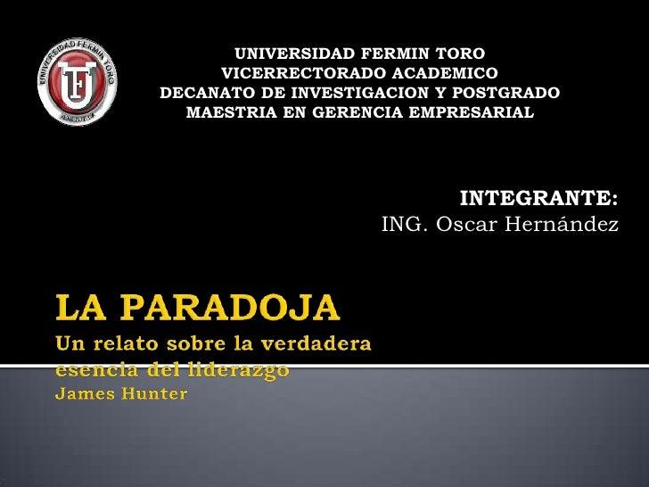 UNIVERSIDAD FERMIN TORO     VICERRECTORADO ACADEMICODECANATO DE INVESTIGACION Y POSTGRADO  MAESTRIA EN GERENCIA EMPRESARIA...