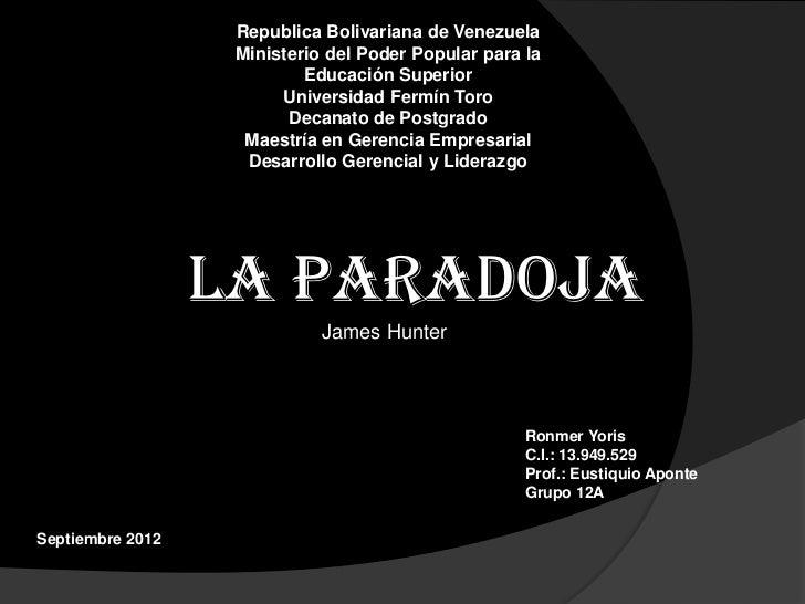 Republica Bolivariana de Venezuela                   Ministerio del Poder Popular para la                           Educac...