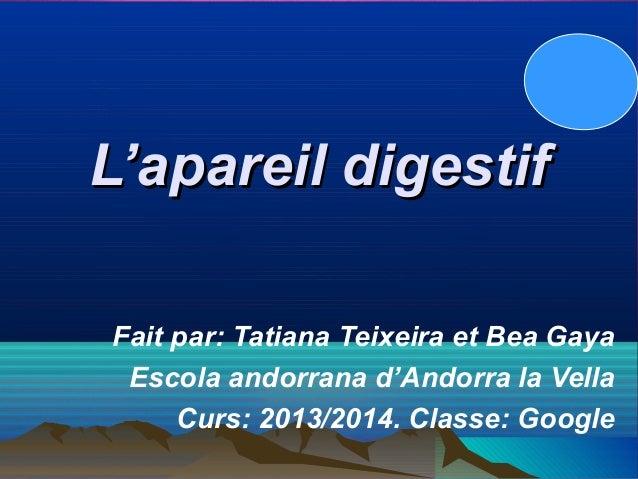 L'apareil digestif Fait par: Tatiana Teixeira et Bea Gaya Escola andorrana d'Andorra la Vella Curs: 2013/2014. Classe: Goo...