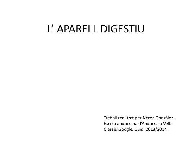 L' APARELL DIGESTIU  Treball realitzat per Nerea González. Escola andorrana d'Andorra la Vella. Classe: Google. Curs: 2013...