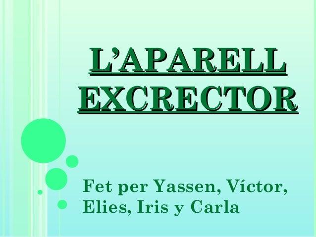 L'APARELLL'APARELL EXCRECTOREXCRECTOR Fet per Yassen, Víctor, Elies, Iris y Carla