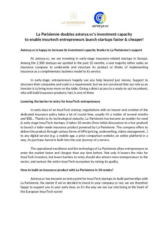 La Parisienne doubles astorya.vc's investment capacity to enable insurtech entrepreneurs launch startups faster & cheaper!...