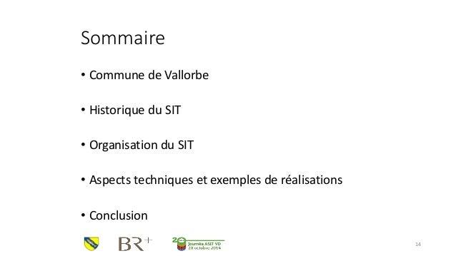 Sommaire  •Commune de Vallorbe  •Historique du SIT  •Organisation du SIT  •Aspects techniques et exemples de réalisations ...
