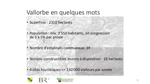Vallorbe en quelques mots  •Superficie : 2310 hectares  •Population : env. 3'550 habitants, en progressionde 3 à 5% par an...