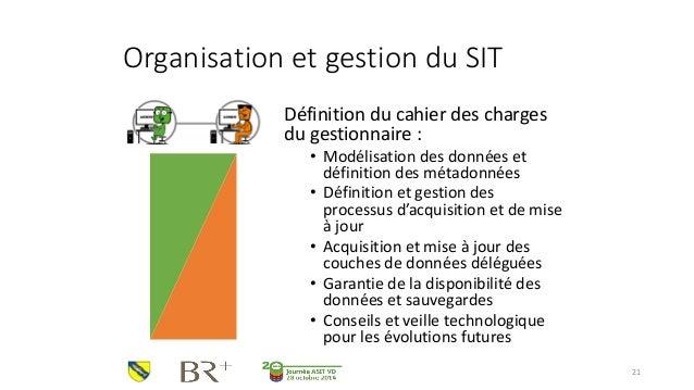 Organisation et gestion du SIT  Définition du cahier des charges du gestionnaire :  •Modélisation des données et définitio...