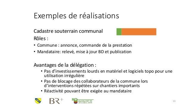 Exemples de réalisations  Cadastre souterrain communal  Rôles :  •Commune : annonce, commande de la prestation  •Mandatair...