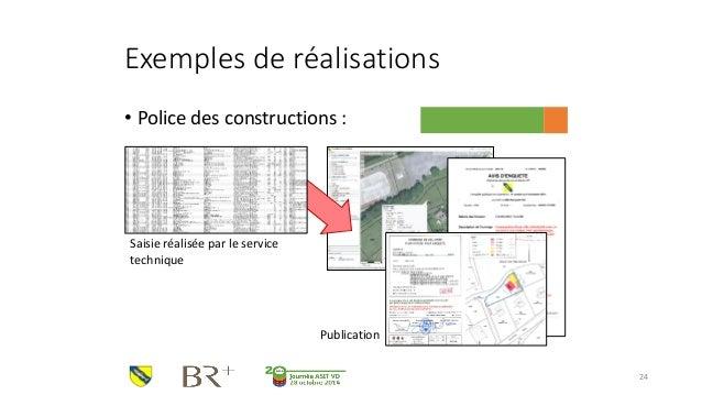 Exemples de réalisations  •Police des constructions :  24  Saisie réalisée par le service technique  Publication