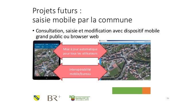 Projets futurs : saisie mobile par la commune  •Consultation, saisie et modification avec dispositif mobile grand public o...