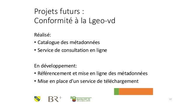 Projets futurs : Conformité à la Lgeo-vd  Réalisé:  •Catalogue des métadonnées  •Service de consultation en ligne  En déve...