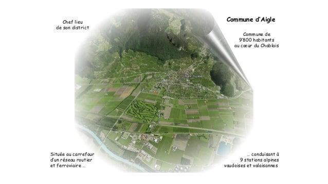 Commune d'Aigle  Commune de  9'800 habitants  au coeur du Chablais  Chef lieu  de son district  Située au carrefour  d'un ...