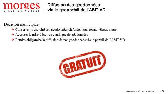 Journée ASIT VD - 28 octobre 2014 72  Diffusion des géodonnées via le géoportail de l'ASIT VD  Constats relatifs au catalo...