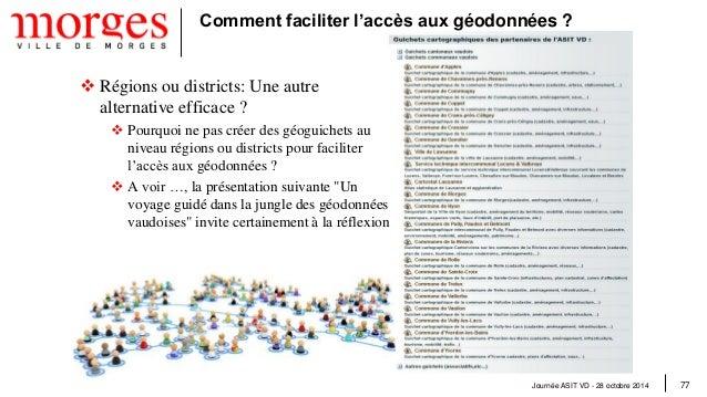 Journée ASIT VD - 28 octobre 2014 78  Synthèse  La gratuité des géodonnées permet de les rendre accessibles à tous  L'ef...