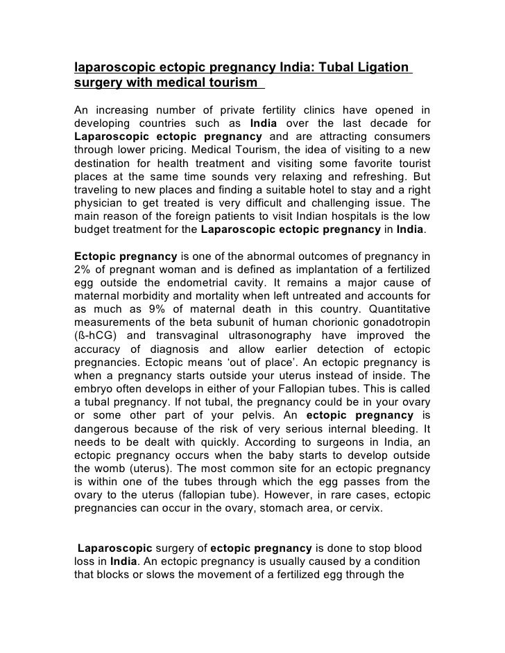 laparoscopic ectopic pregnancy India: Tubal Ligation surgery with medical tourism  An increasing number of private fertili...