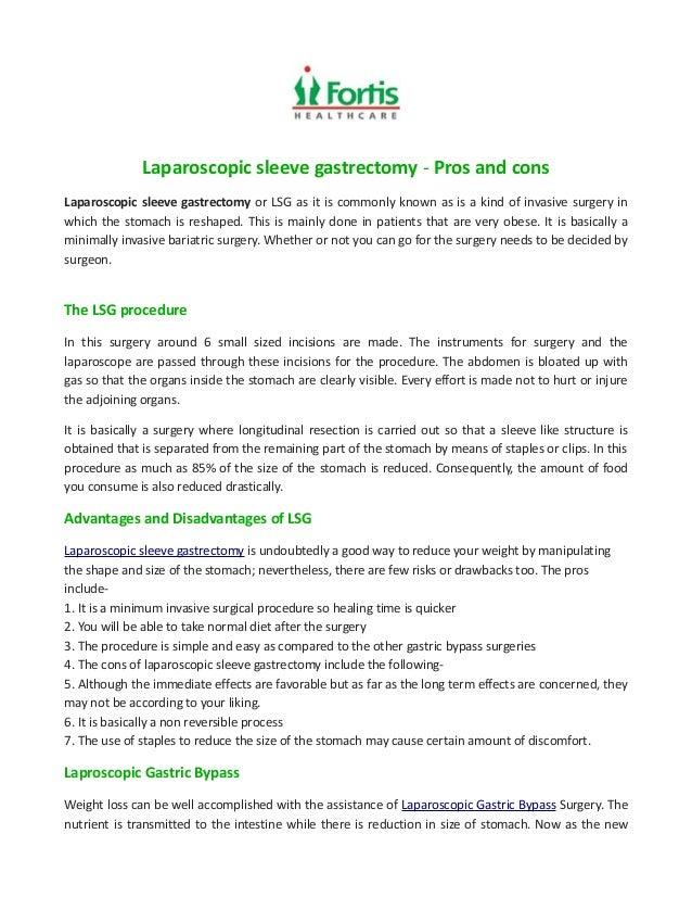 Laparoscopic Sleeve Gastrectomy Pros And Cons