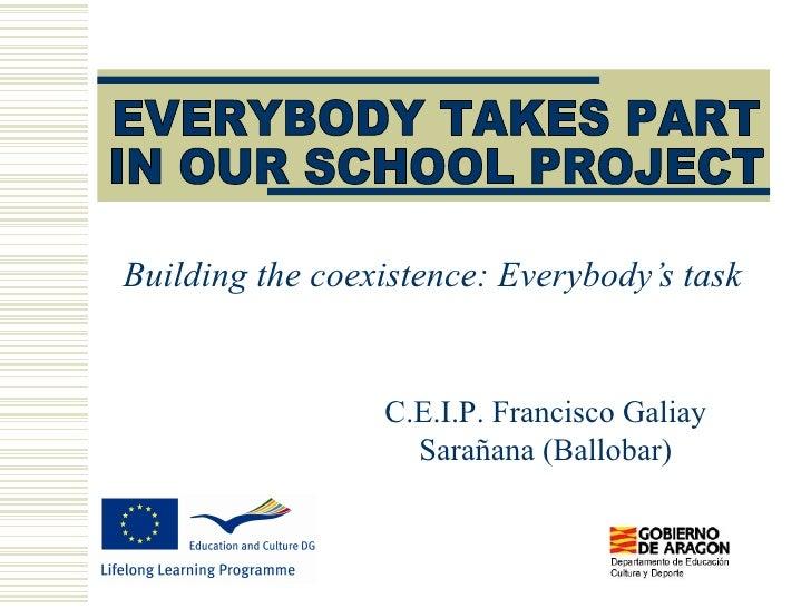 Building the coexistence: Everybody's task C.E.I.P. Francisco Galiay Sarañana (Ballobar) EVERYBODY TAKES PART  IN OUR SCHO...