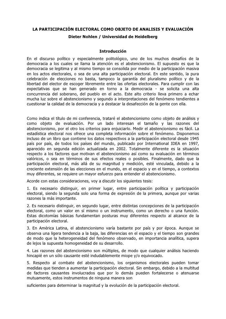 LA PARTICIPACIÓN ELECTORAL COMO OBJETO DE ANALISIS Y EVALUACIÓN                        Dieter Nohlen / Universidad de Heid...