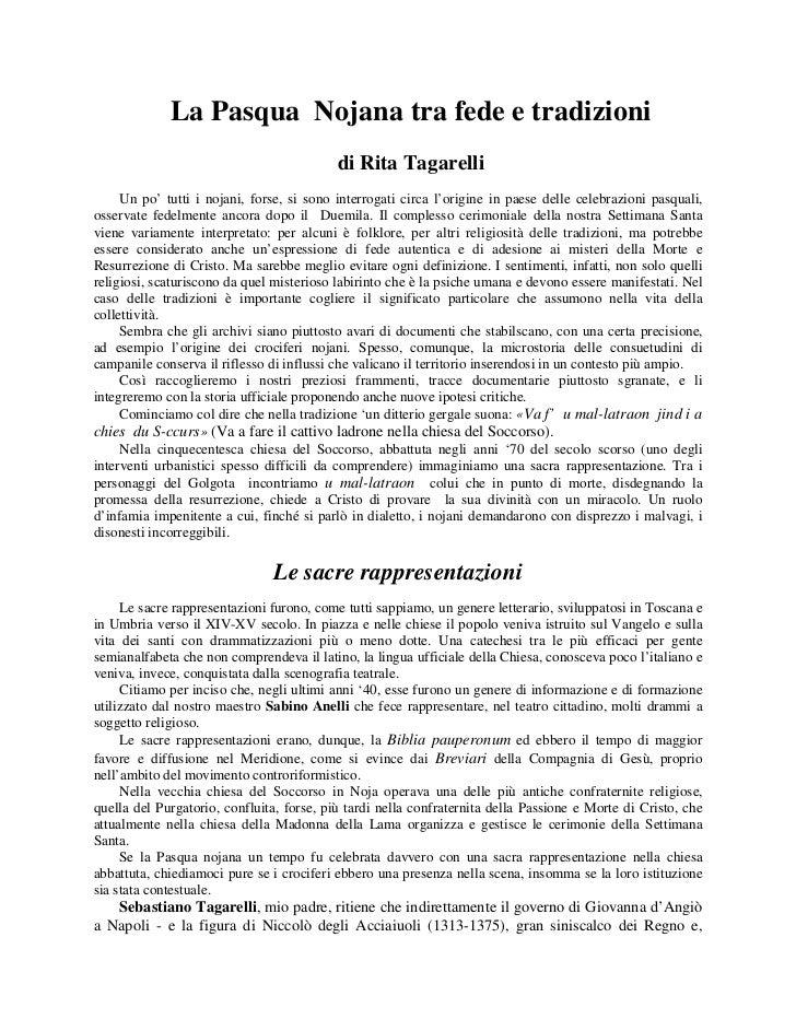 La Pasqua Nojana tra fede e tradizioni                                           di Rita Tagarelli     Un po' tutti i noja...