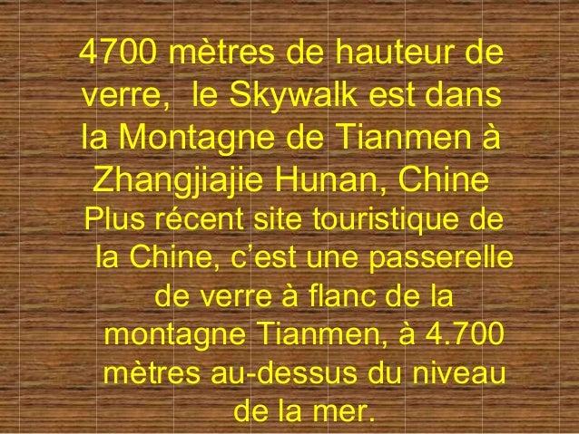 4700 mètres de hauteur de verre, le Skywalk est dans la Montagne de Tianmen à Zhangjiajie Hunan, Chine Plus récent site to...