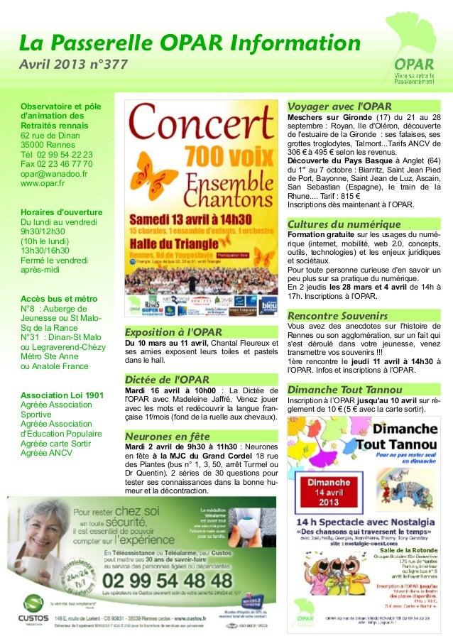 La Passerelle OPAR InformationAvril 2013 n°377Observatoire et pôle                                                     Voy...