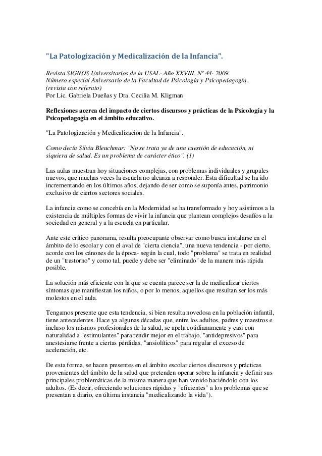 """""""La Patologización y Medicalización de la Infancia"""".Revista SIGNOS Universitarios de la USAL- Año XXVIII. Nº 44- 2009Númer..."""