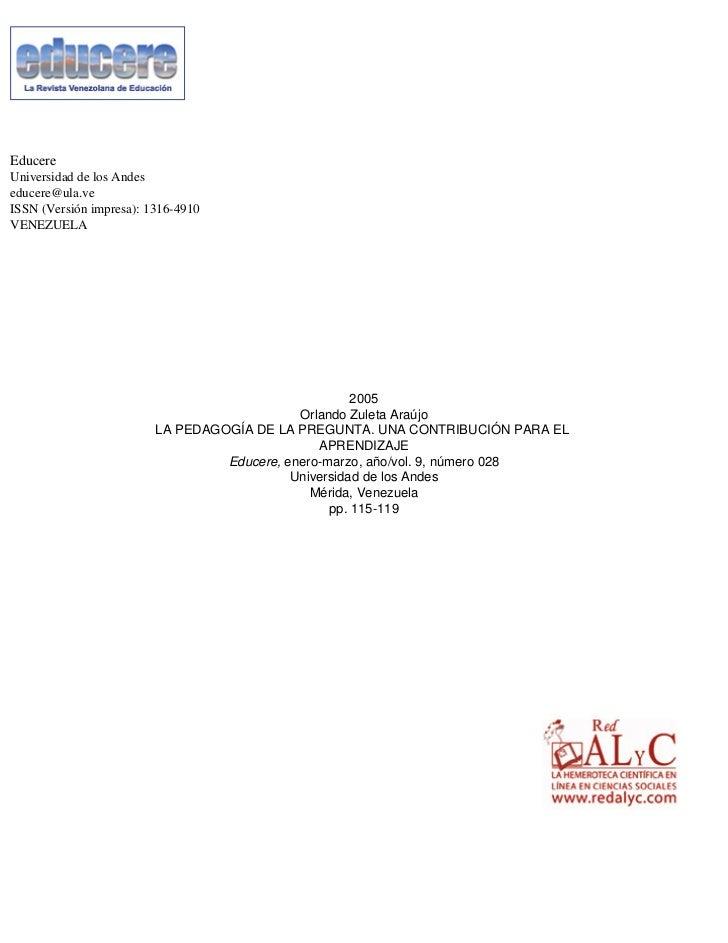 EducereUniversidad de los Andeseducere@ula.veISSN (Versión impresa): 1316-4910VENEZUELA                                   ...