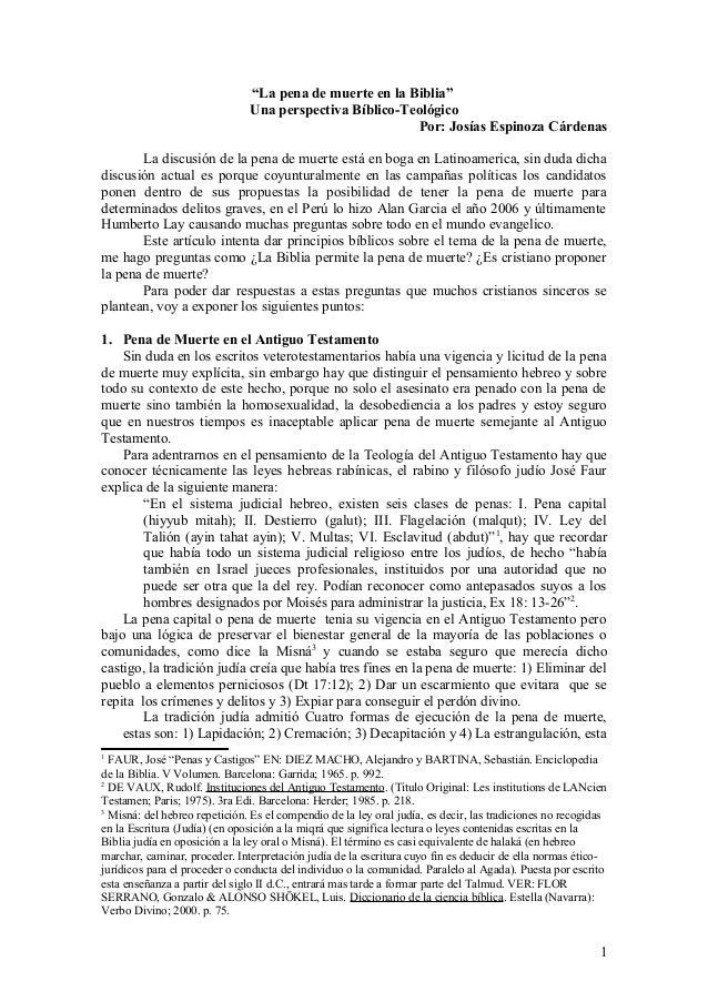 """""""La pena de muerte en la Biblia"""" Una perspectiva Bíblico-Teológico Por: Josías Espinoza Cárdenas La discusión de la pena d..."""